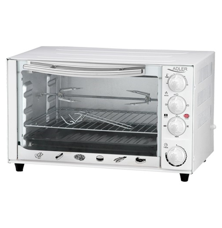 Adler AD 6001 Electric oven, Capactity 34L, Power 1600W, 3 heating modes, Timer, White