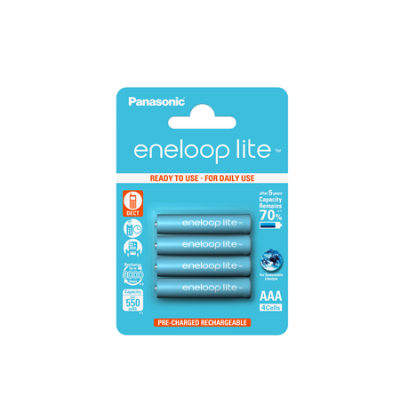 Panasonic Rechargeable Battery, 550 mAh, Ni-MH, 4 x AAA pc(s)
