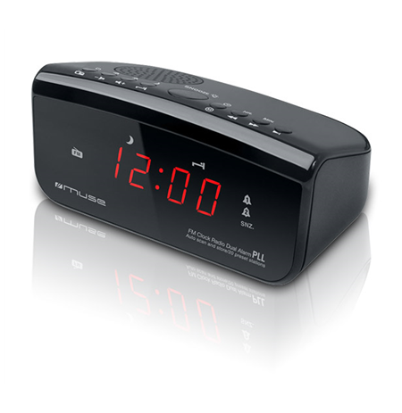 Muse Clock radio PLL M-12CR Black, Alarm function