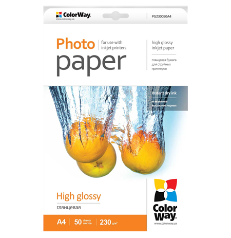 ColorWay High Glossy Photo Paper, A4, 230 g/m2, 50 sheets