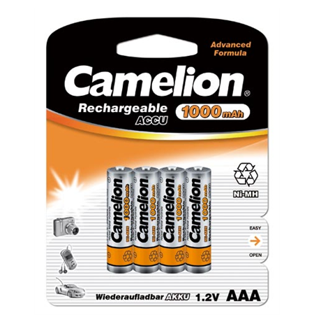 Camelion AAA/HR03, 1000 mAh, Rechargeable Batteries Ni-MH, 4 pc(s)