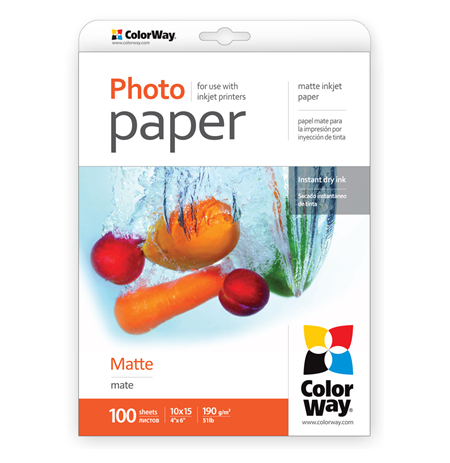 ColorWay Matte Photo Paper, 10x15, 190 g/m2, 100 sheets