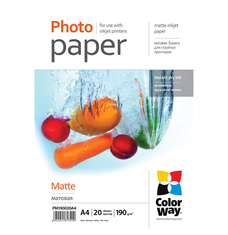 ColorWay Matte Photo Paper, 20 Sheets, A4, 190 g/m²