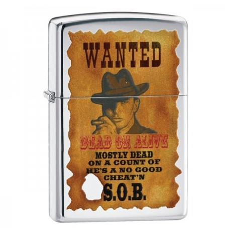 Žiebtuvėlis ZIPPO 28289 Wanted Poster High Polish Chrome