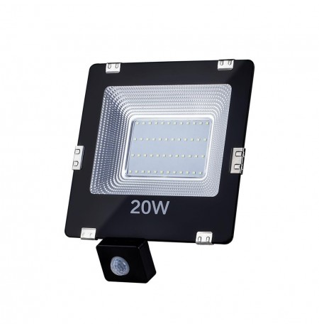 ART External lamp LED 20W,SMD,IP65, AC80-265V,black, 4000K-W, sensor
