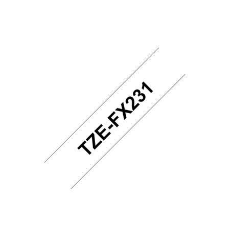 Brother TZe-FX231 Flexible ID Laminated Tape Black on White, TZe, 8 m, 1.2 cm