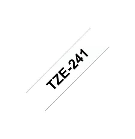 Brother TZ-241 Laminated Tape Black on White, TZe, 8 m, 1.8 cm