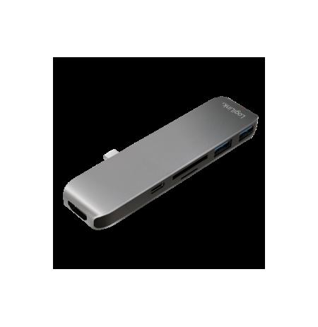 LOGILINK- USB-C 6-in-1 multifunctional hub, aluminum alloy