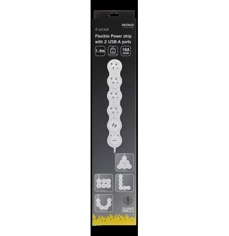 lankstus ilgiklis su 4 jungtimis, 1.4m, 16A 3500W, 2x USB-A DELTACO baltas / GT-290