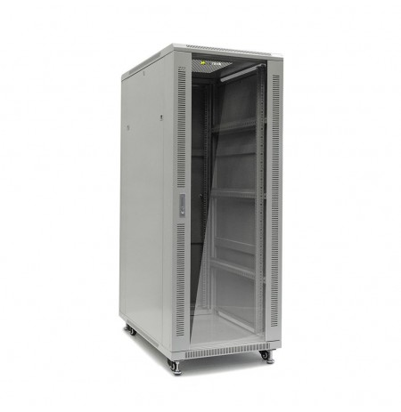 Netrack standing server cabinet 32U/600x1000mm (glass door)-grey FULLY ASSEMBLE