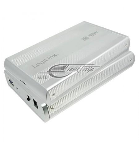 """Korpusas diskui LogiLink UA0107A ( 3,5"""" , SATA daugiau  USB3.0 , Aluminium , sidabro sp.)"""