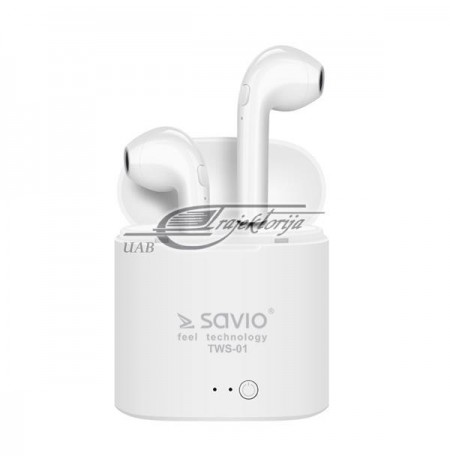 Headphones SAVIO TWS-01 (In-ear, Bluetooth, wireless, with a built-in microphone, white color)