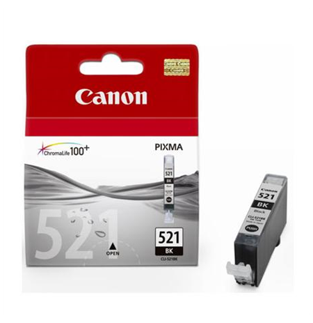 Canon CLI-521BK Black Ink Tank (for Pixma IP3600/IP4600/MP540/MP620/MP630/MP980), 1875 p.@ A4 5%
