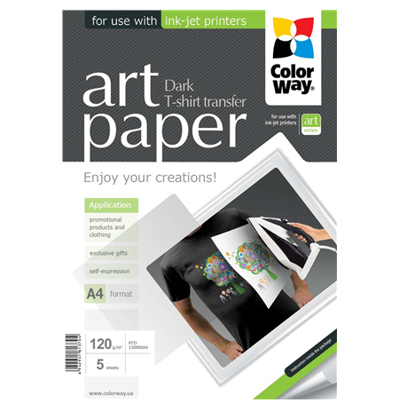 ColorWay ART T-shirt transfer (dark) Photo Paper, 5 sheets, A4, 120 g/m²