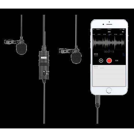 Dvigubas mikrofonas BOYA 3.5mm jungtis, juodas / BY-M1DM / BOYA10002