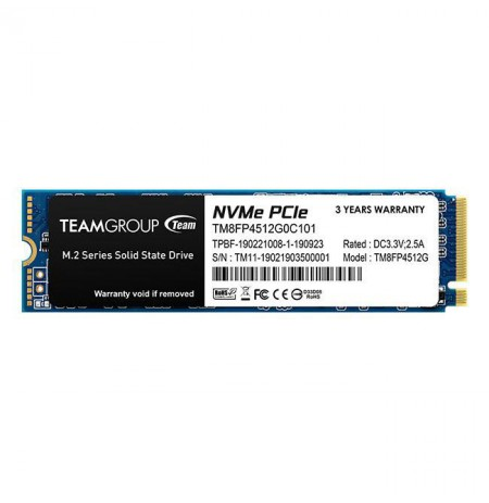 Team Group SSD MP34 512GB M.2 PCIe Gen3 x4 NVMe, 3000/1700 MB/s, IOPS 190/160K