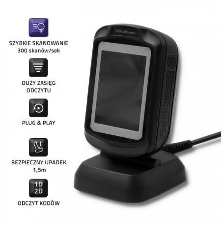Qoltec 50864 Desktop QR & Barcode Scanner | USB
