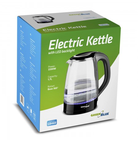 Electric kettle GreenBlue, capacity 1.8l, glass case, GB460