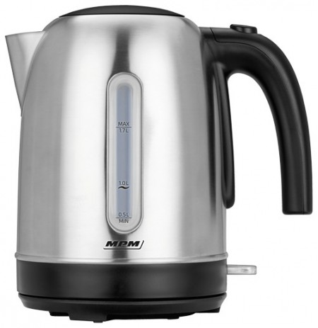 MPM MCZ-102M electric kettle 1.7 L 2200 W Black, Stainless steel