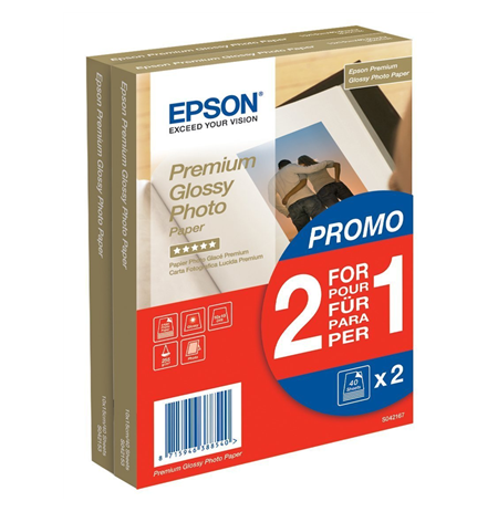 Epson Premium Glossy Photo Paper - (2 for 1), 100 x 150 mm, 255g/m2, 80 Sheets