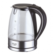 Adler Kettle AD 1225 Standard, 2000 W, 1.7 L, Glass, 360° rotational base, Stainless steel/Black