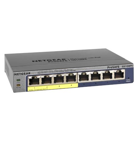Netgear 8x 10/100/1000 Prosafe PLUS Switch with 4-PoE ports (management via PC utility), Lifetime Hardware Warranty