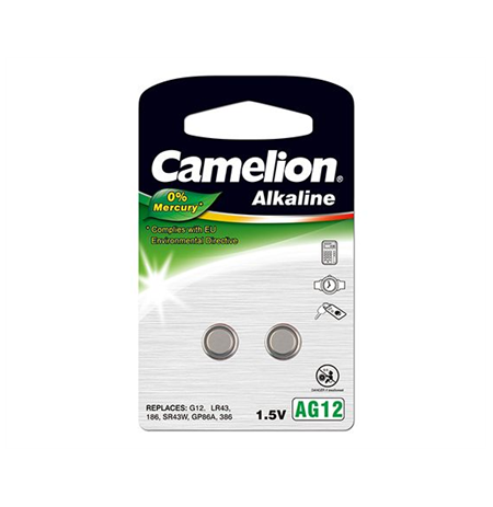 "Camelion Alkaline Button celles 1.5V (AG12) LR43/LR1142/386, 2-pack, ""no mercury"""